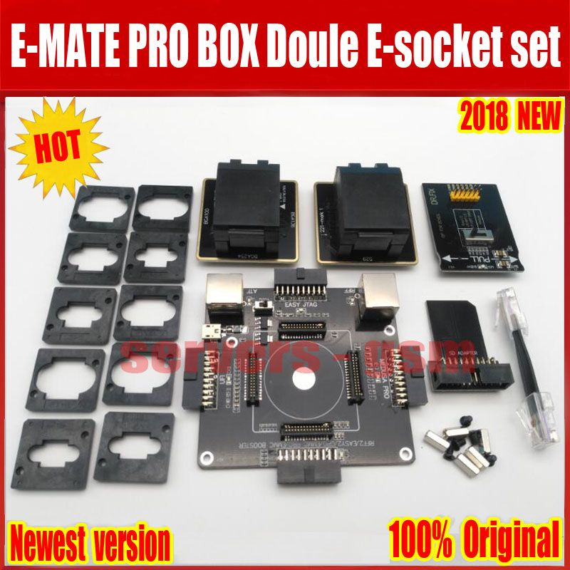 Newest Original E-MATE BOX EMMC doule E-Socket Support BGA100 136 168 153 169 162 186 221 529 254 for Easy jtag plus UFI box Rif