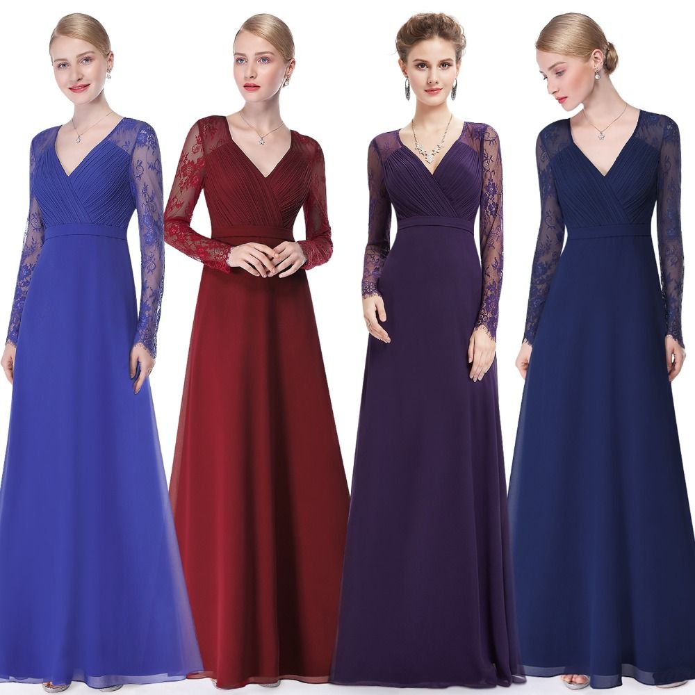Formal Evening Dresses Ever Pretty EP08692 Women's Autumn Elegant V-neck Long Sleeve Lace Plus Size Prom Evening <font><b>Party</b></font> Gowns