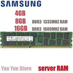 SAMSUNG 4 GB 8 GB 16 GB 4G 8G 16G DDR3 2RX4 PC3-10600R 12800R ECC REG 1333 MHZ 1600 MHZ PC RAM Serveur mémoire RAM 100% d'origine
