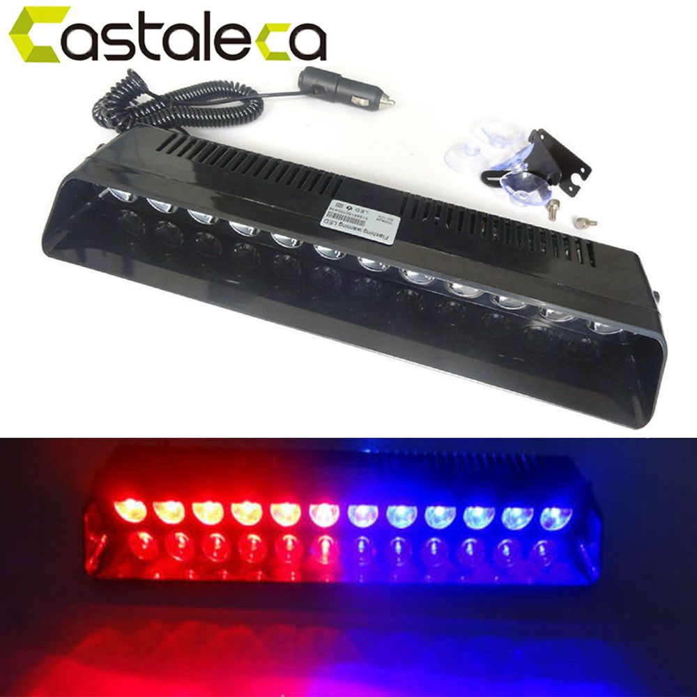 castaleca Car Led Emergency Strobe Flash Warning Light 12V 12 Led 12W Police Flashing Lights Red Blue Amber White Car styling