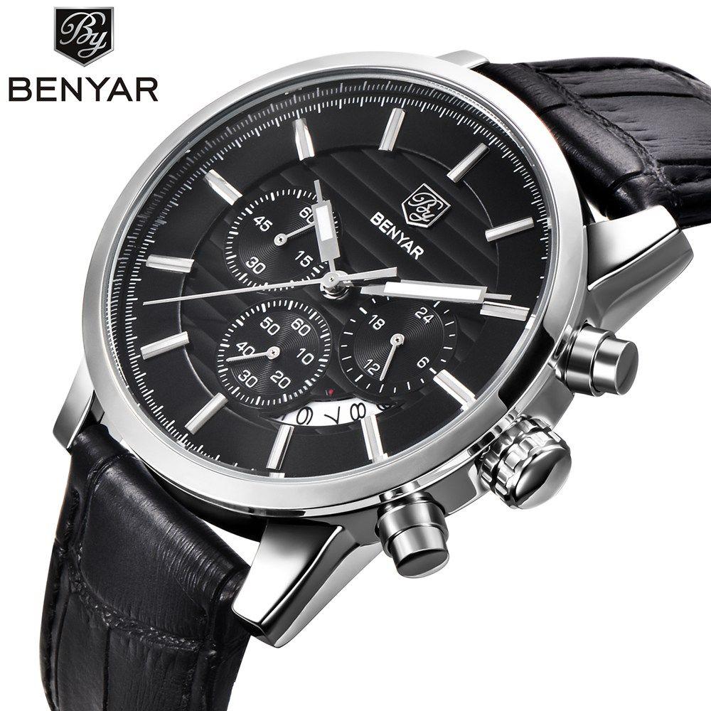 <font><b>BENYAR</b></font> Fashion Stainless Steel Chronograph Sports Mens Watches Top Brand Luxury Quartz Business Watch Clock Relogio Masculino