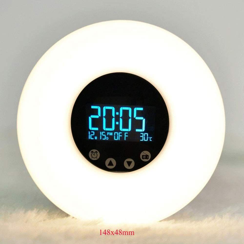 Multifunctional FM Radio Wake Lamp LED Wake-up The New Radio Alarm clock Sunrise Colorful Digital display Battery USB powered