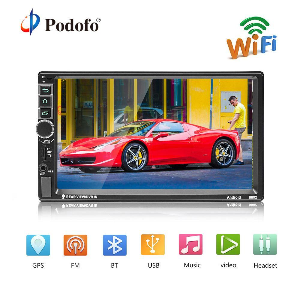 Podofo 2din Android Car Radio GPS 7 inch 2 din Radio Cassette Recorder Bluetooth autoradio MP5 Player Support Rear View Camera