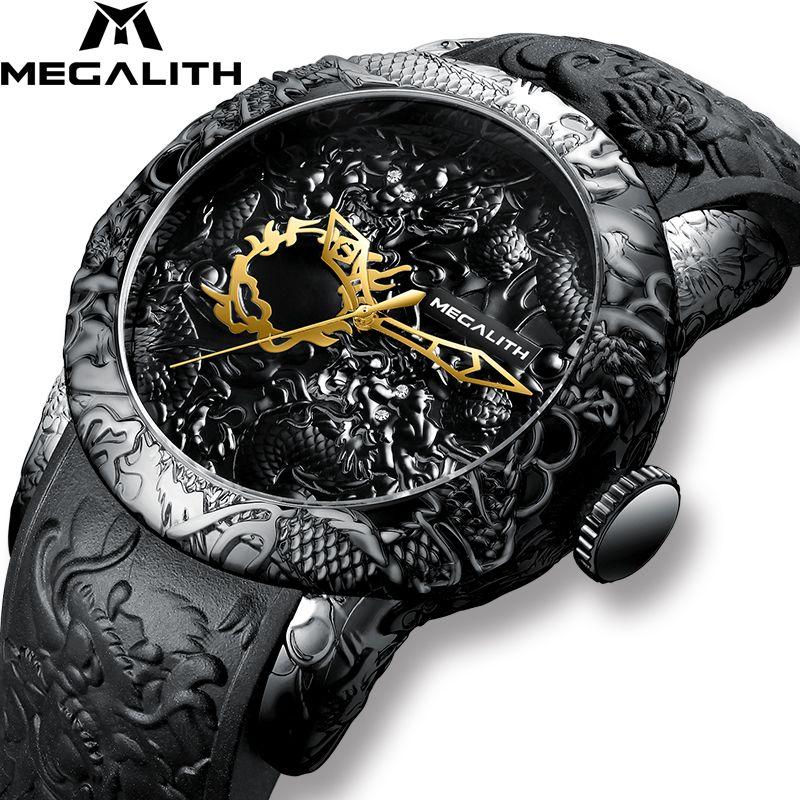 MEGALITH mode or Dragon Sculpture montre hommes montre à Quartz étanche grand cadran Sport montres hommes montre Top marque de luxe horloge