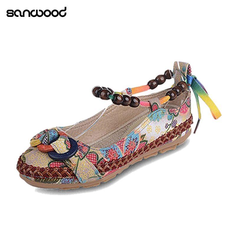 Новые Для женщин Этническая Кружево до Бисер круглый носок Удобная Туфли без каблуков красочные лоферы