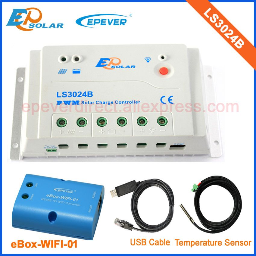 LS3024B PWM controller 30A 30amp EP regulator EPEVER USB cable and temperature sensor solar power controller wifi BOX