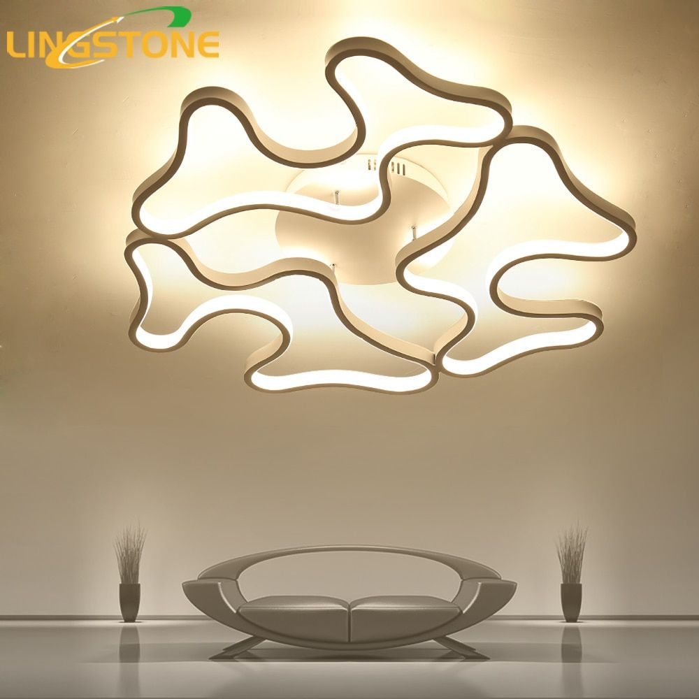 Led Ceiling Lights Modern Lamp Aluminum Remote Control Dimming Lighting Fixture Living Room Bedroom Restaurant Dining Room Light