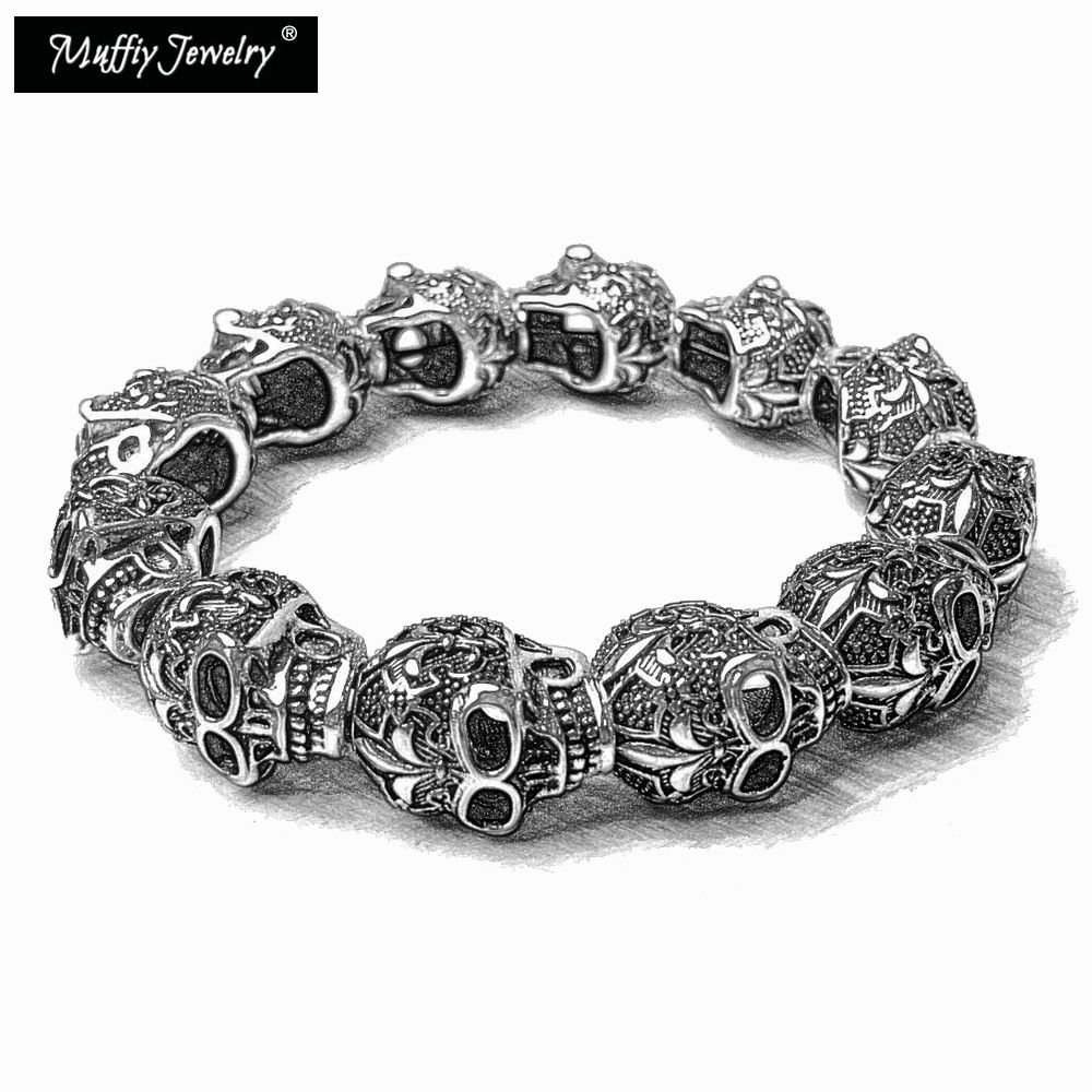 Fleur-de-lis Lily & Skull Punk Bead Bracelets,2017 Ts Super Deals Heart Gift In Silver,Thomas Style Rebel Gift for Men & Women