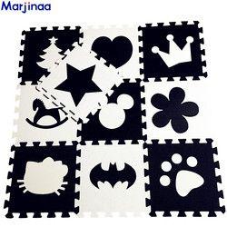 EVA Lembut Anak-anak Mengembangkan Karpet Merangkak, bayi Permainan Block Batman/Huruf/Mickey Busa Alas Hitam Putih Lantai Dasar untuk Permainan Bayi
