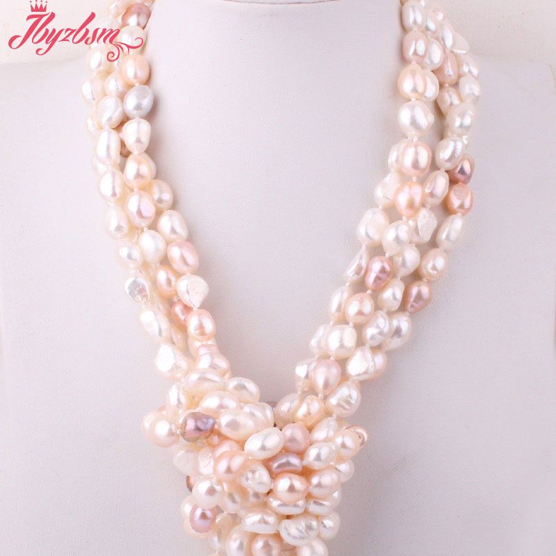 8-10mm Freeform Shape Freshwater Pearl Natural Stone Beads Fashion Handwork Knot For Woman Necklace 60 Not Button,Free shipping