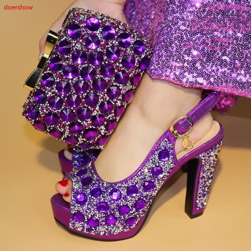 doershow purple color Fashion Italian Shoes With Matching Bags African High Heel Women Shoes and Bags Set For Prom Party PAA1-13