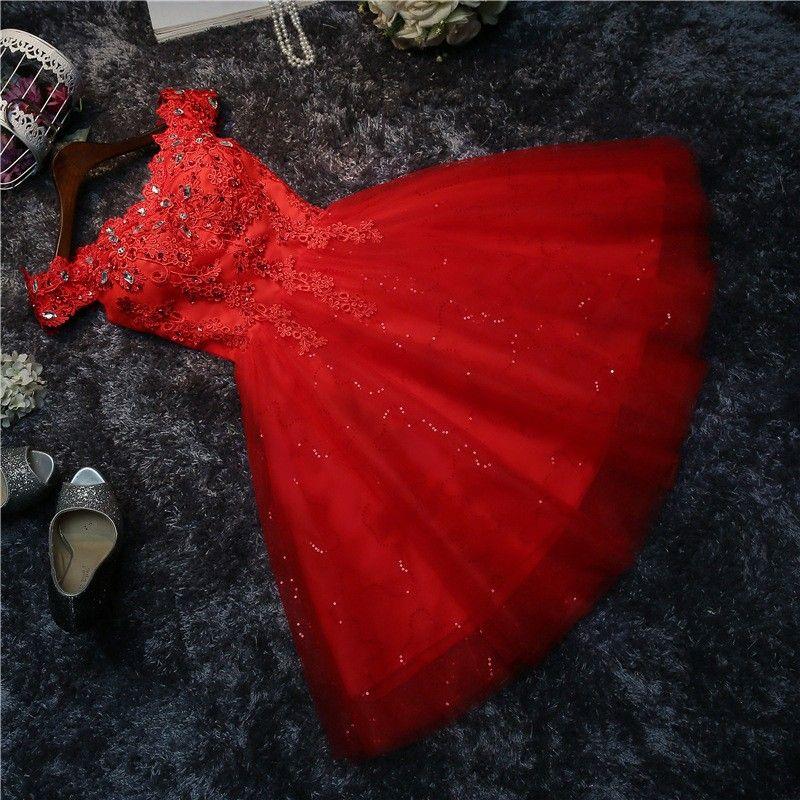Real fotos novia Dama de Honor del cortocircuito del vestido de la nueva primavera verano matrimonio gasa vestido blanco de Encaje Hasta Sexy trajes de baile rojo # HA5