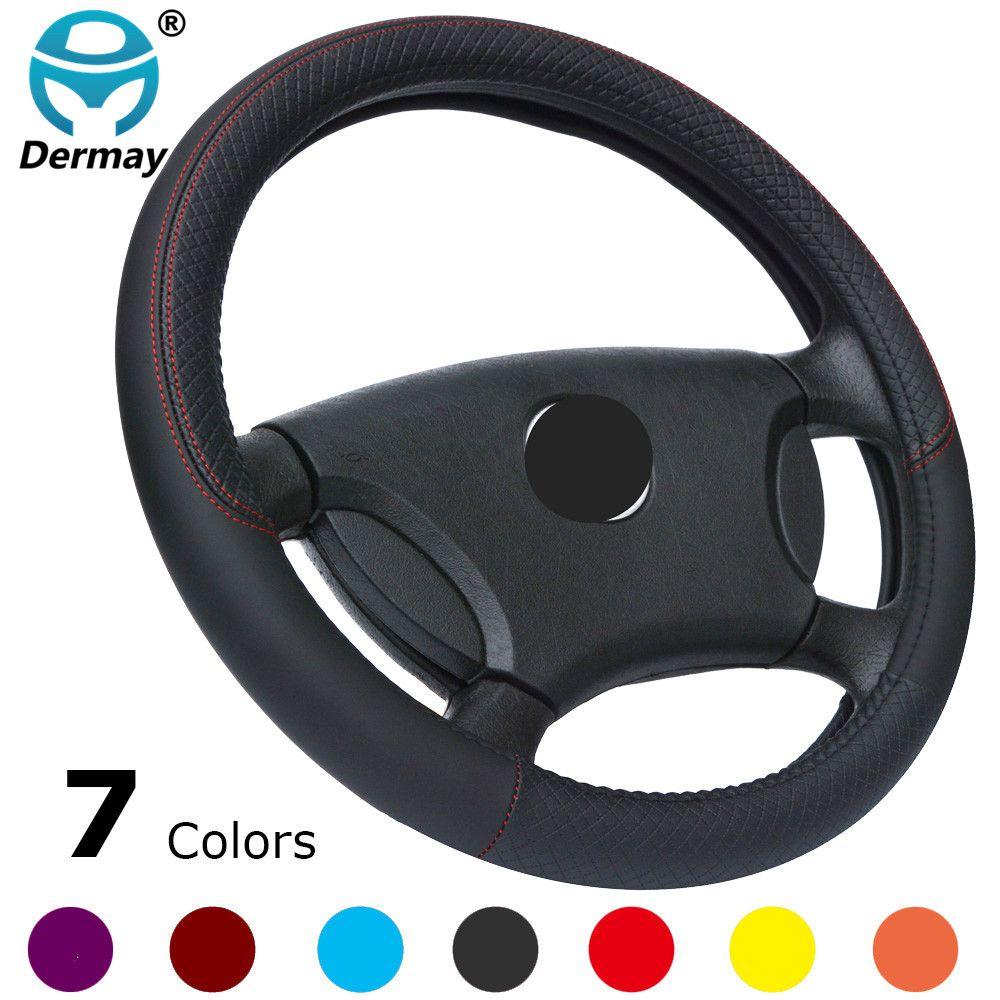 DERMAY nouveauté 7 couleurs 37-38 cm housse de volant de voiture en cuir taille M pour VW Skoda Chevrolet Ford Nissan etc. 95% voitures