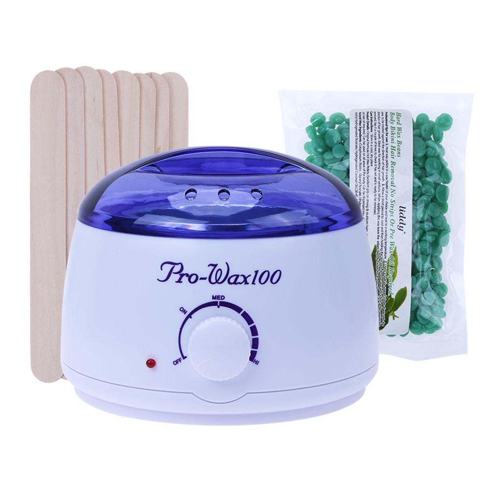 Wax Heater <font><b>Machine</b></font> Waxing Warmer 100g Wax Beans Hot Wax Heater 20pcs Stickers Hair Removal Sets US Plug Bikini Hair Removal