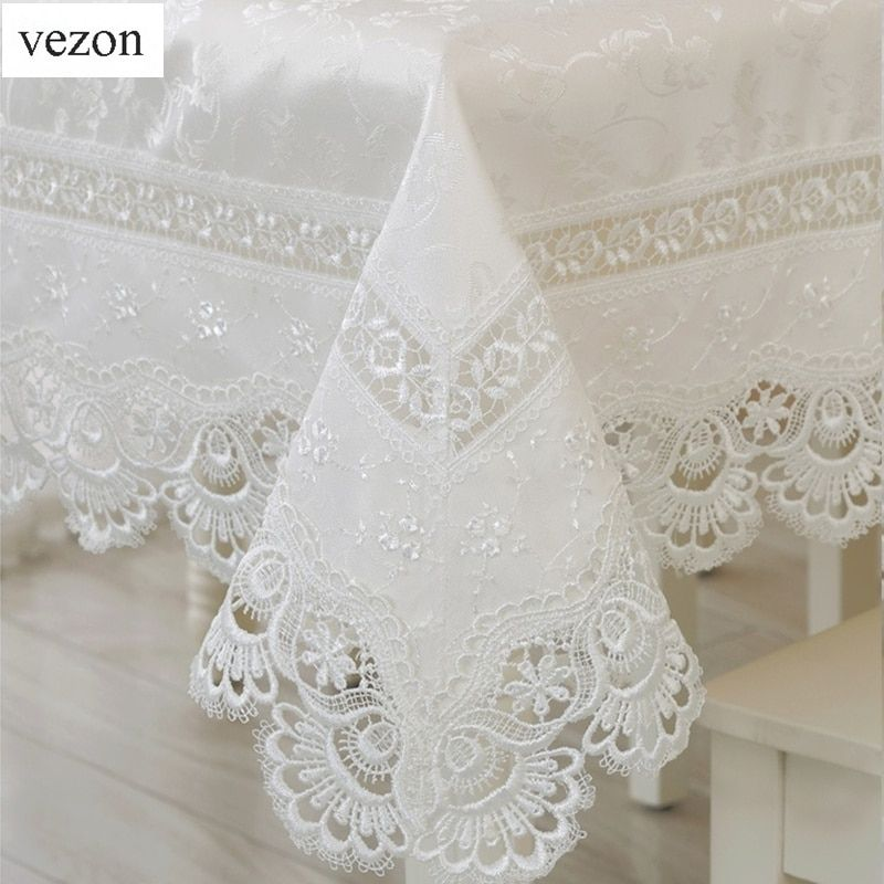 Vezon Textiles de Maison Vente Chaude Élégante Dentelle Nappes Paon Jacquard De Mariage Linge de Table En Tissu Couvre Décoration Serviettes