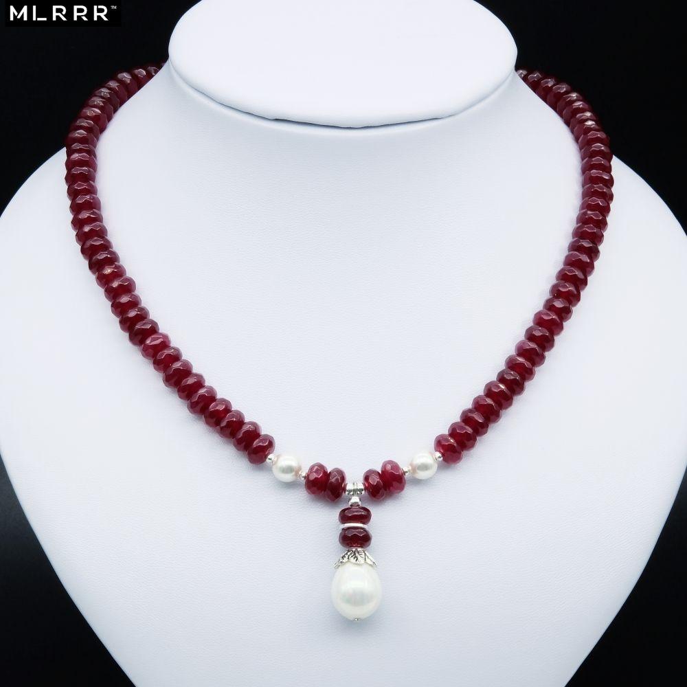 Pierre naturelle Bijoux Élégant Noble Profond Rouge Rubis Collier de Perles avec Shell Perle Pendentif Charmes pour Femmes Filles Cadeau