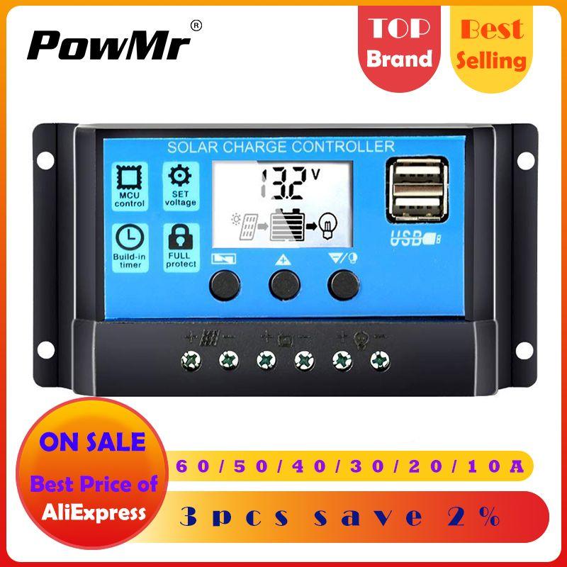 60A/50A/40A/30A/20A/10A 12 V 24 V contrôleur de Charge solaire automatique PWM contrôleurs LCD double USB 5 V sortie panneau solaire PV régulateur