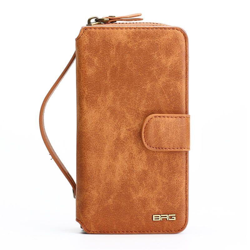 Multifonction Portefeuille Étui En Cuir Pour Samsung S4 S5 S6 S7 BORD S8 NOTE4 NOTE5 Fermeture Éclair Porte-Monnaie Pochette Étuis de Téléphone Dame couverture de sac à main