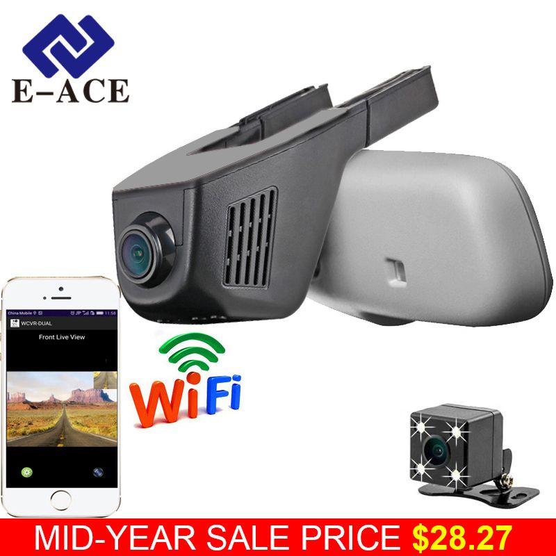 E-ACE Car Dvr WIFI DVRs Dual Camera Lens Registrator Dashcam Digital Video <font><b>Recorder</b></font> Camcorder Full HD 1080P 30FPS Night Version