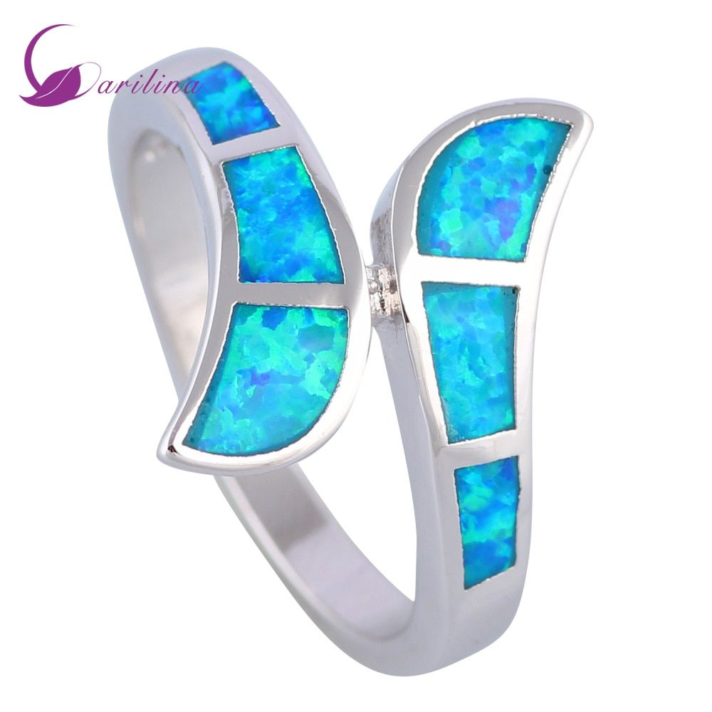 Bijoux fantaisie bagues femmes bleu opale de feu 925 en argent Sterling cadeau bague taille 6 7 7.5 8 9 R535