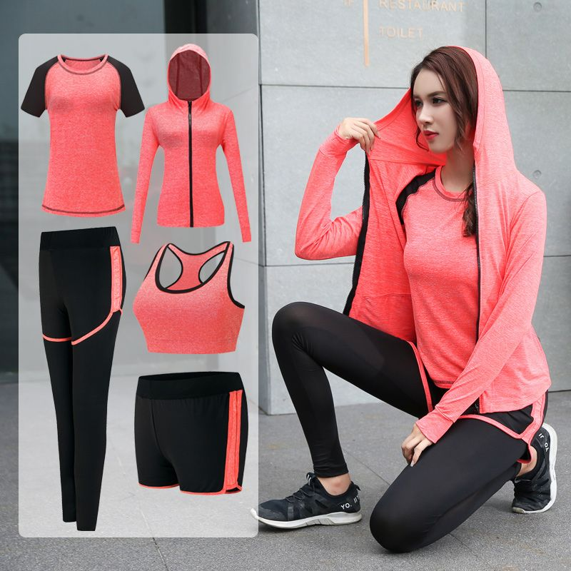 2018 Yoga sets 3/4/5 pieces Women quick dry run sportwear gym leggings T-Shirt Fitness Bra Workout Sports tights suit yoga set