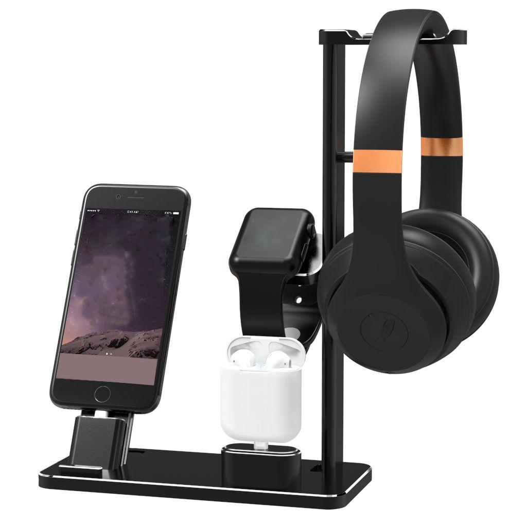 Neue 4 in 1 Handy Halter Stehen Aluminium Legierung Schreibtisch Halter Für Apple Gerät Ladestation Cradle Halterung Für iPhone Unterstützung