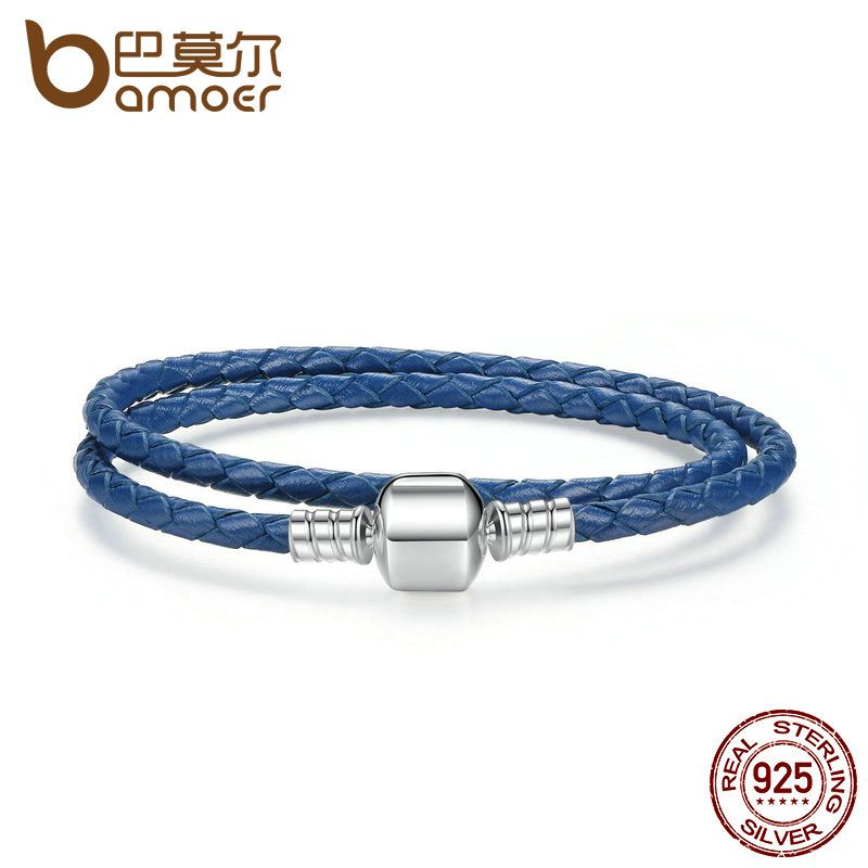 BAMOER New Arrival 925 Sterling Silver Blue Snake Chain Adjustable Braided Rope Bracelets for Women Jewelry PAS910