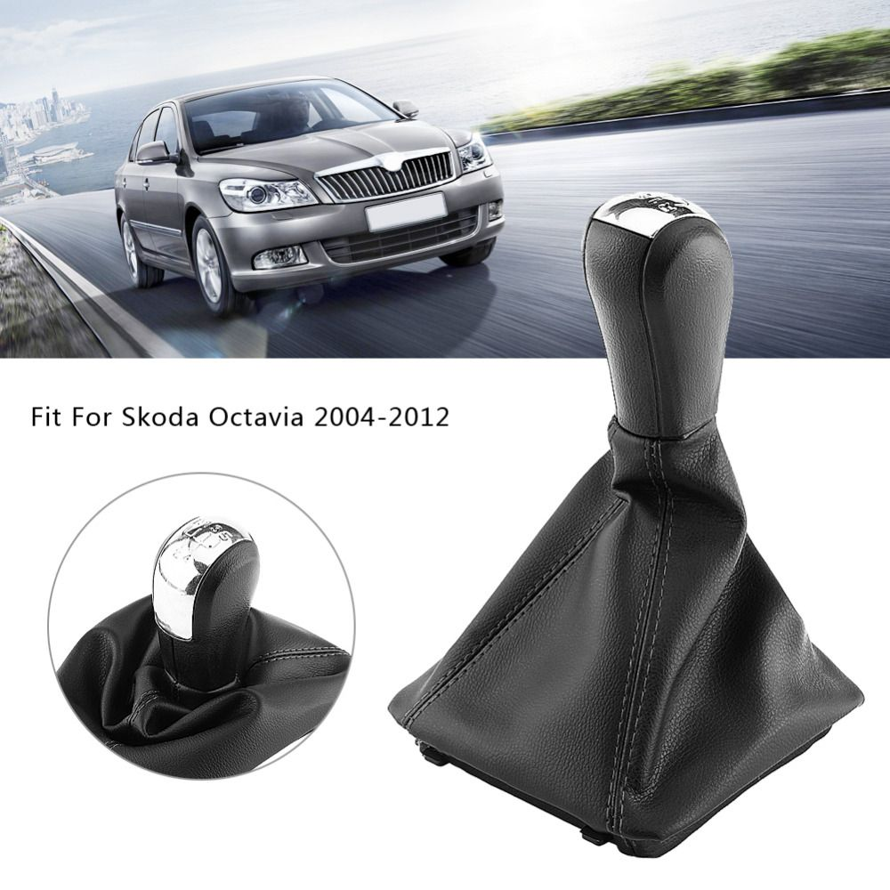 5 Speed Car Gear Shift Knob Gearstick Gaiter Boot Kit For Skoda Octavia 2004 2005 2006 2007 2008 2009 2000 2010 2011 2012