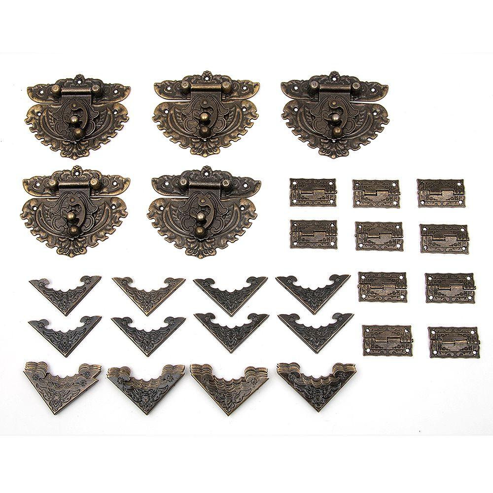 Hakkin 55 pièces/ensemble classique meubles tiroir bijoux boîte en bois coin décoratif pieds jambe pour boîtes raccords pour meubles