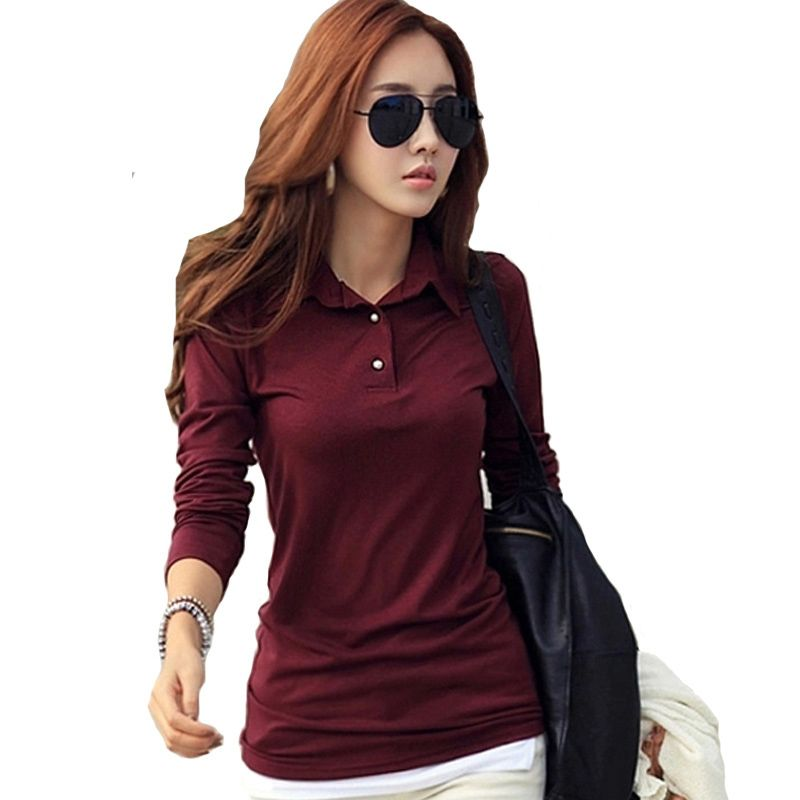Winter Autumn Casual Polo Women 2018 New Long Sleeve Slim Polos <font><b>Mujer</b></font> Black White Red Women Tops For Lady Polo Shirt Femme A558
