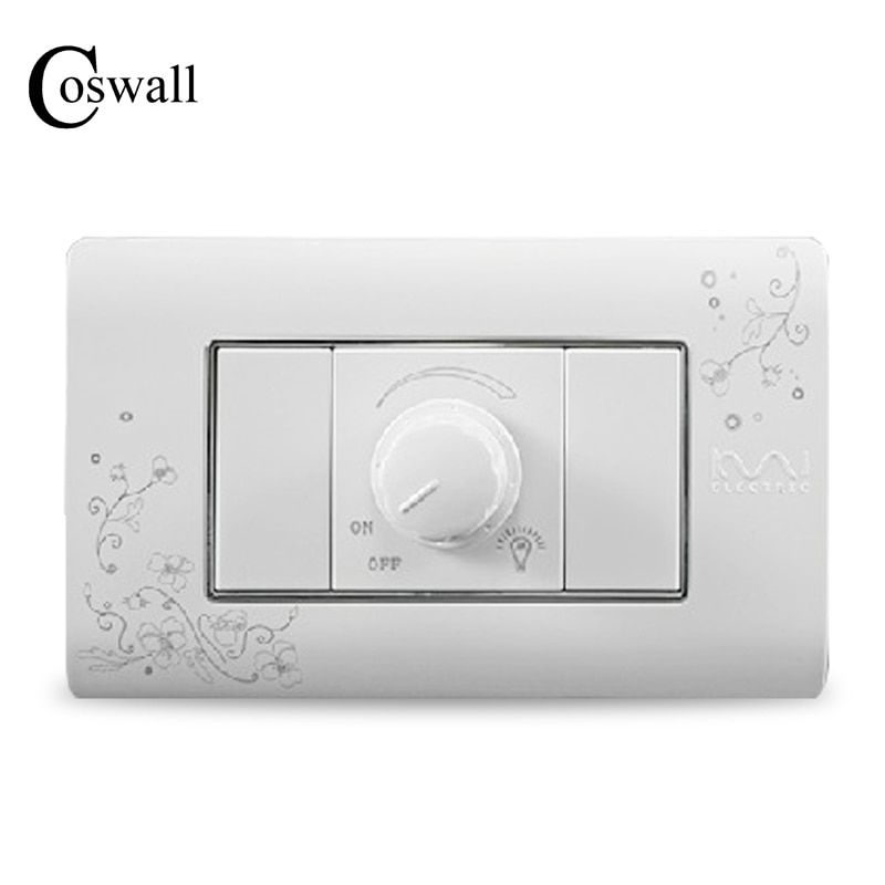 COSWALL mur de luxe variateur régulateur interrupteur 300 W Maximum ivoire blanc bref Art modèle lumière interrupteur 118*72mm AC 110 ~ 250 V
