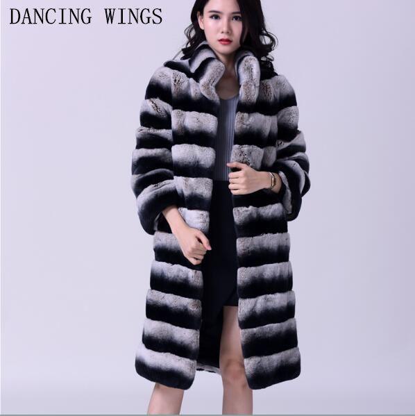 Women's Real Rex Rabbit Fur Coat Stand Collar Natural Fur Winter Jacket Long Style Chinchill Genuine Fur Coats