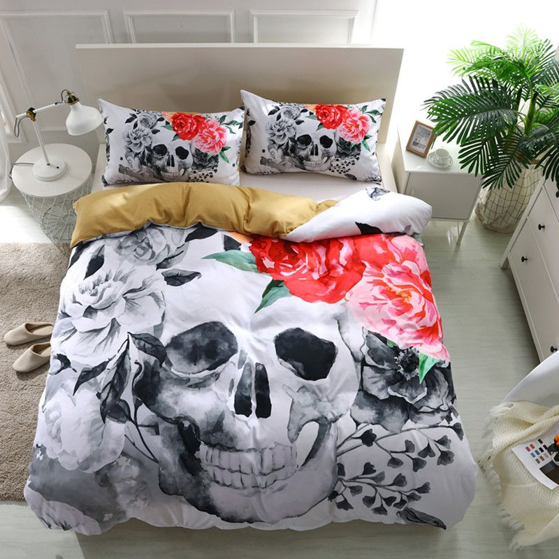 Fanaijia 3D Skull Bedding sets Plaid Duvet Covers for King Size Bed Europe Style Sugar Skull Bedding Pink Flower Duvet Cover
