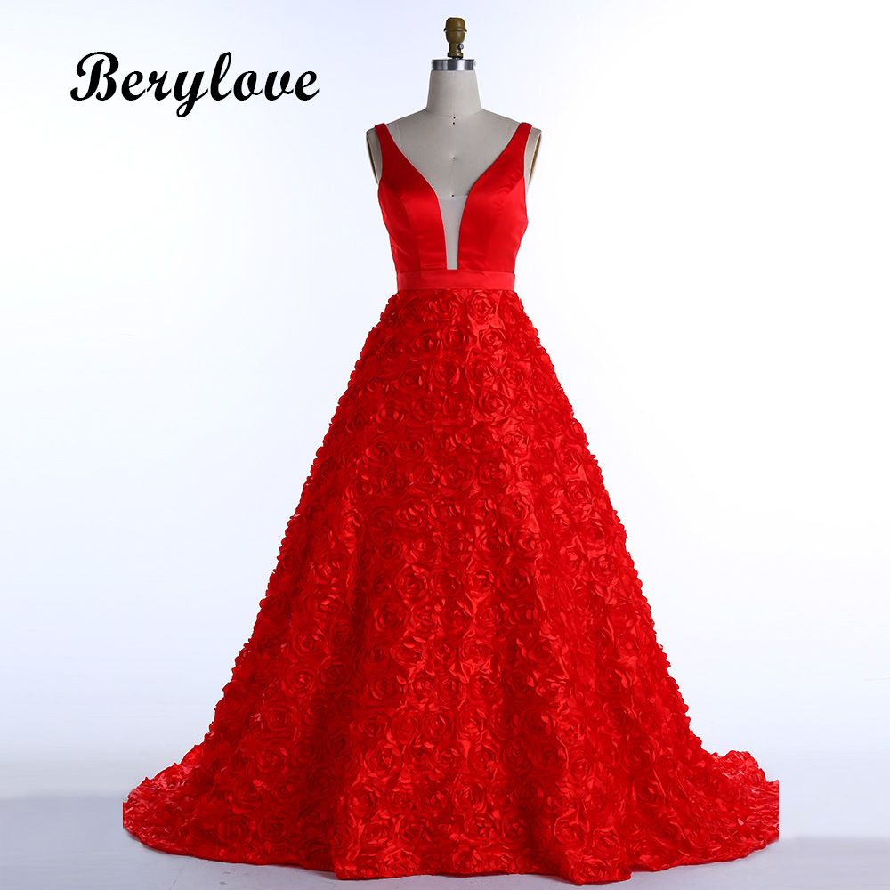 BeryLove Ball Gown Red Prom Dresses 2018 Flowers Long Prom Gowns V Neck Formal Evening Dresses Women Prom Party Dress Prom Gowns
