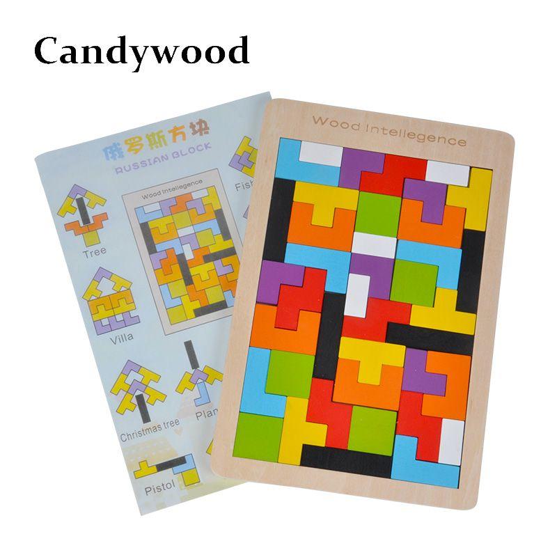 Enfants jouets en bois Tangram/Puzzle Puzzle casse-tête Puzzle Tetris jeu éducatif bébé enfant enfants jouet