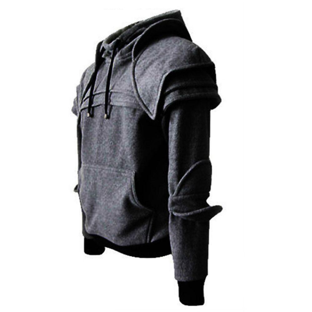 Fashion Gothic Men Hoodie Retro Street Clothing Soft Medieval Style Cosplay Fleece Long Sleeve Travel Hallowmas Knight hoodie