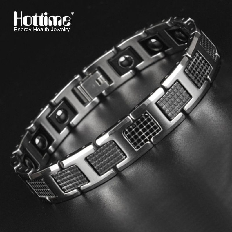 New Tungsten Men's Health Energy Magnetic Stone Luxury <font><b>Black</b></font> Plated Germanium Bracelet Men Bracelets Bangles Jewelry 8.2 inch