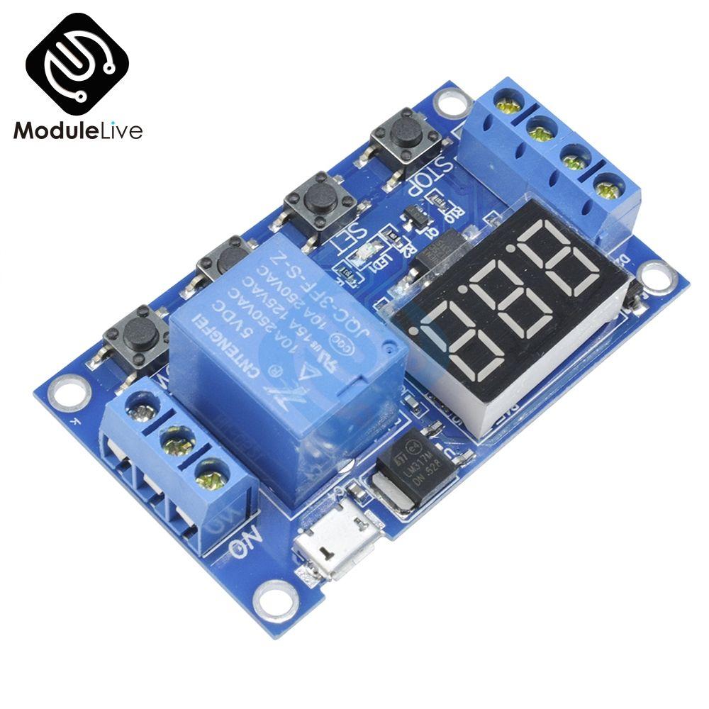 Micro USB 5 v Digitale Led-anzeige Trigger Automation Verzögerung Zyklus Timer Control Schalter Relais Modul Board-Controller