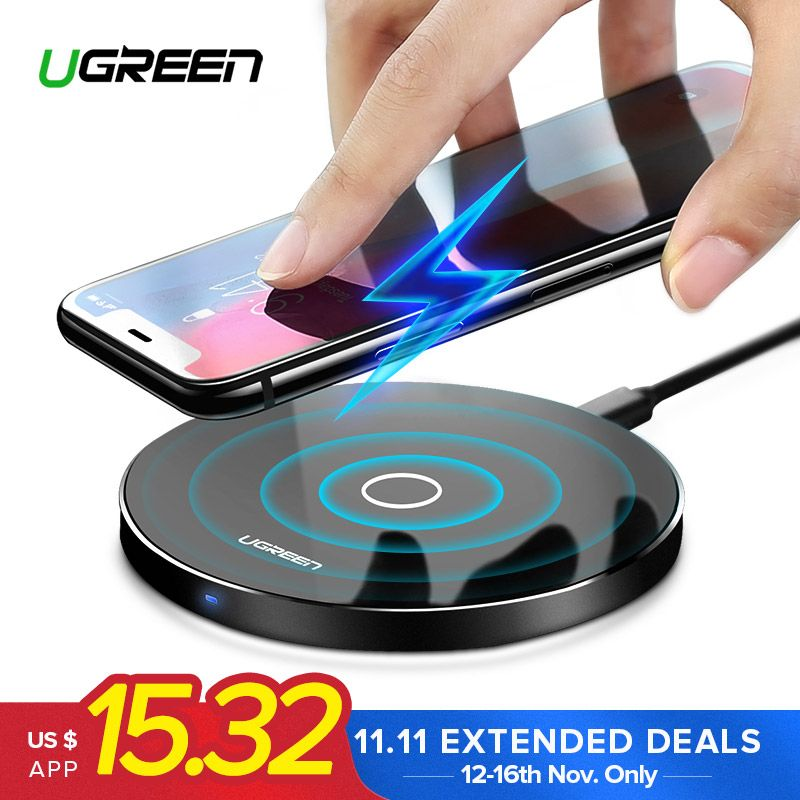 Ugreen Wireless Charger for iPhone X 8 XS 10W USB Wireless Charging for Samsung Galaxy S8 S9 S7 Edge Qi USB Wireless Charger