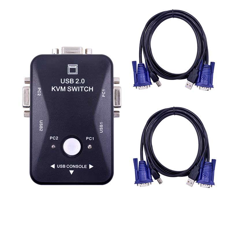 Ingelon commutateur kvm câble vga usb de haute qualité 2.0 répartiteur vga Boîte pour clé usb souris du clavier moniteur adaptateur usb Imprimante interrupteur