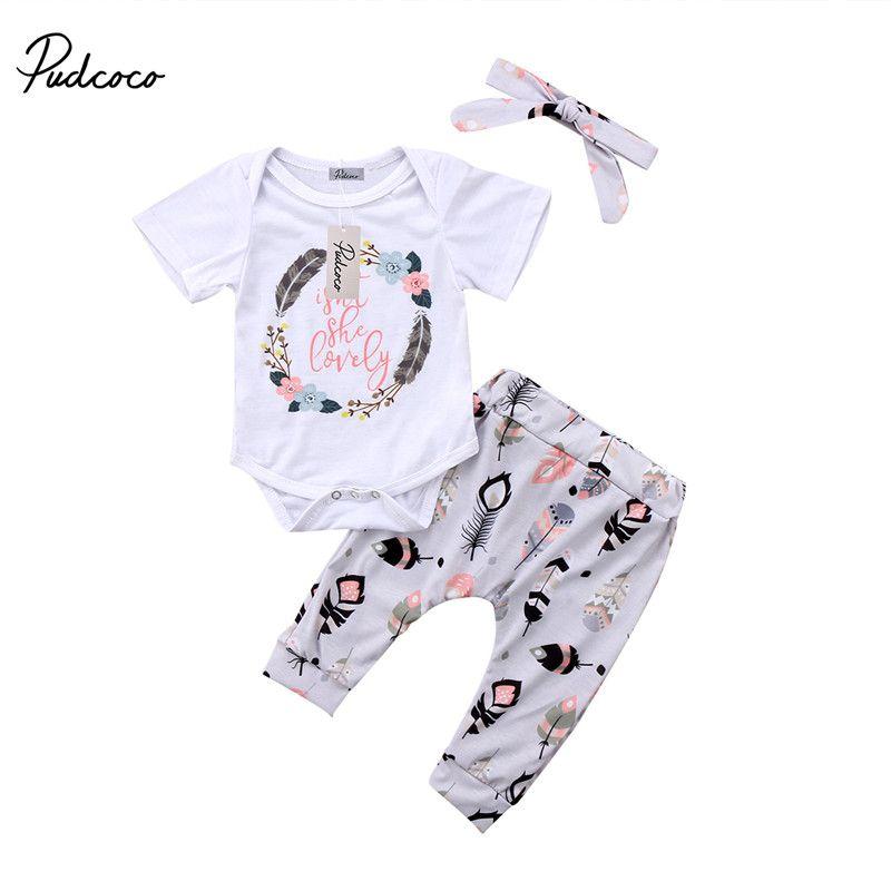 Venta caliente recién nacido Niño Niñas ropa de algodón de manga corta mono mameluco + Pantalones + Headband 3 unids trajes bebé ropa