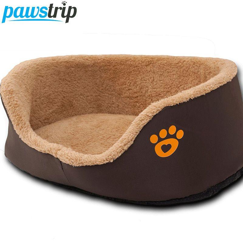 Отпечаток лапы собак круглый диван-кровать из мягкого флиса теплые Чихуахуа маленькая собака Кровати S/M