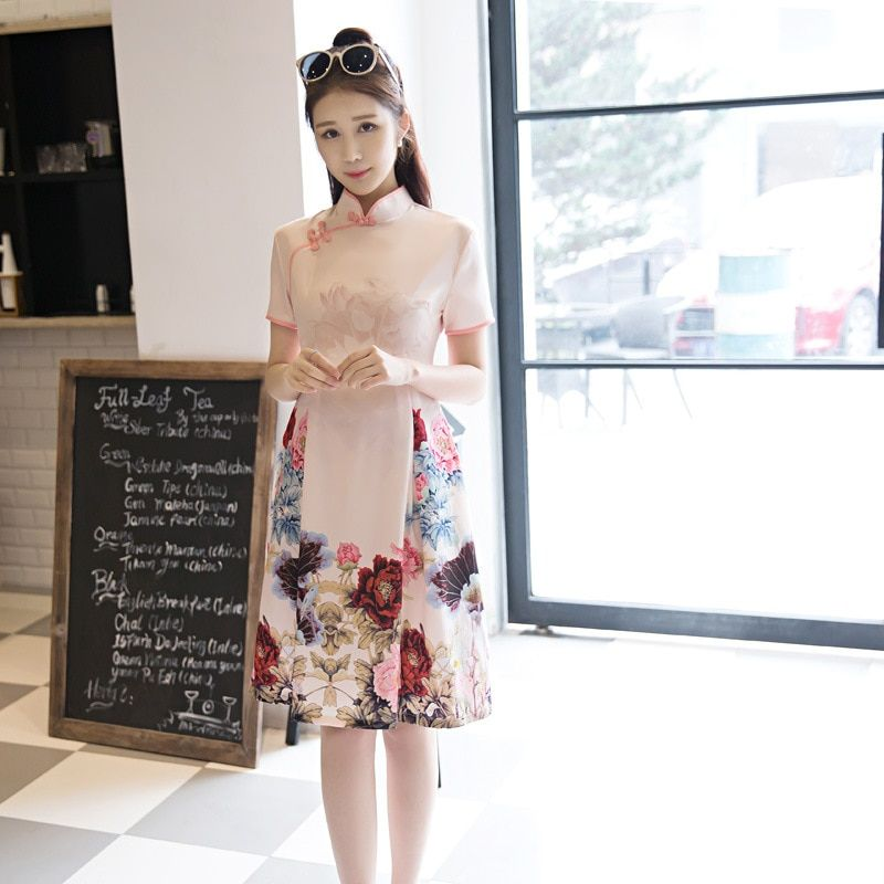 Fengmeisi chino cheongsam qipao corto de seda de las mujeres delgado estampado de flores moderno elegante trompeta vestidos orientales P3396 tradicional