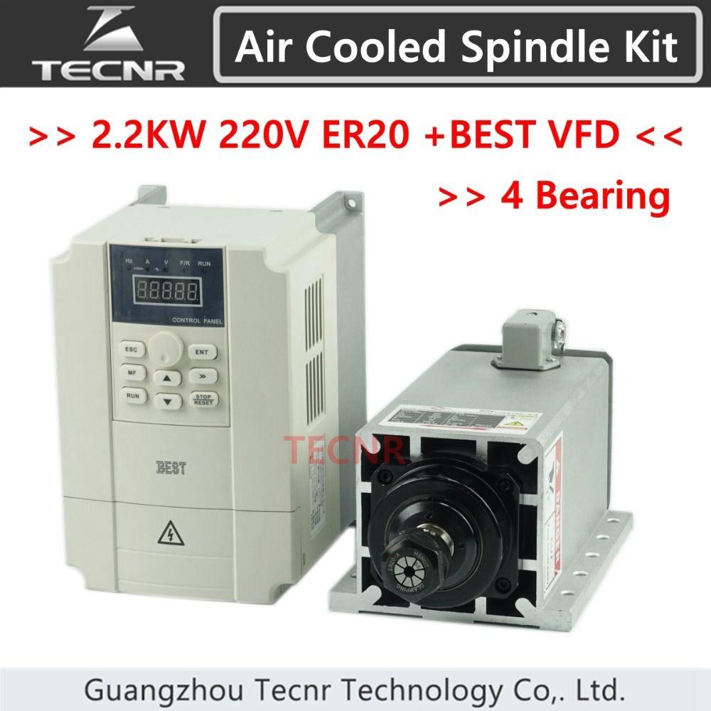 high quality Ceramic Bearings 2.2kw 220V air cooled spindle motor ER20 and 2.2KW VFD inverter
