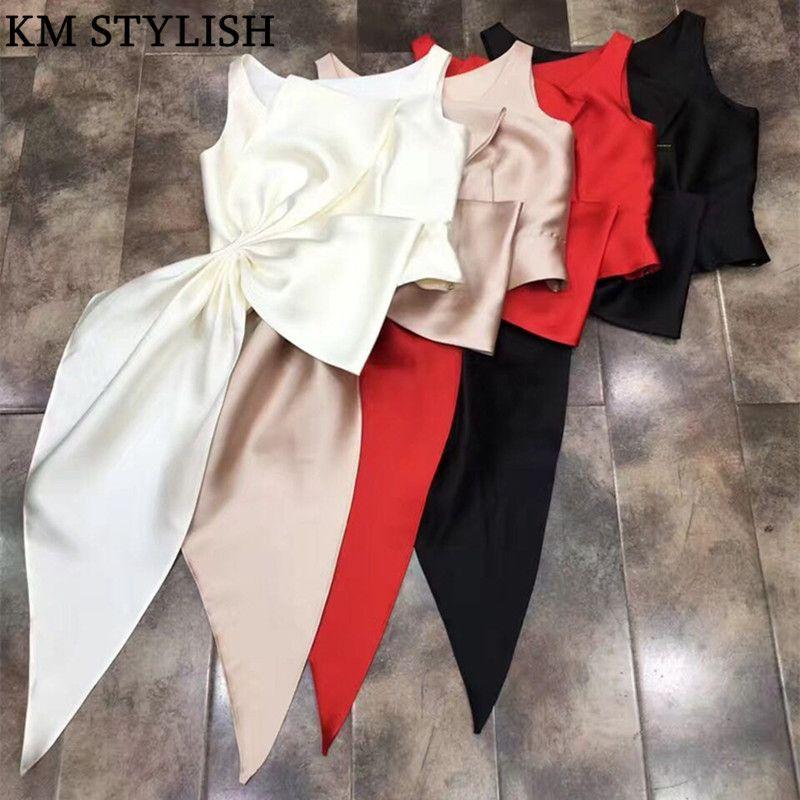 [Nouvelle vente] 2019 chemisier pour femme nouveau haut de gamme solide Satin plis chemise irrégulière fermeture éclair haut grande taille Bow Tank 3 couleurs