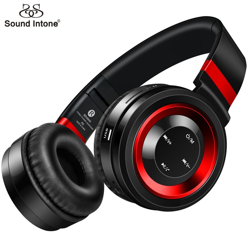 Sound Intone P6 Bluetooth Headphone With Mic Wireless Headphones Support TF Card FM Radio Bass Headset For Computer Cellphone TV