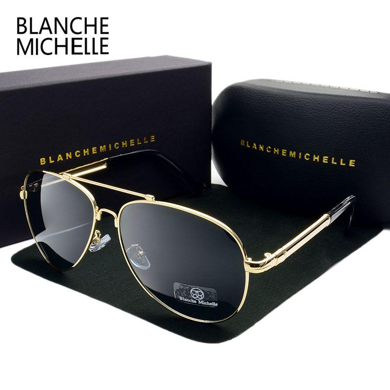 2018 haute qualité mémoire métal grand cadre pilote lunettes de soleil hommes polarisés UV400 lunettes de soleil homme marque conduite oculos avec boîte