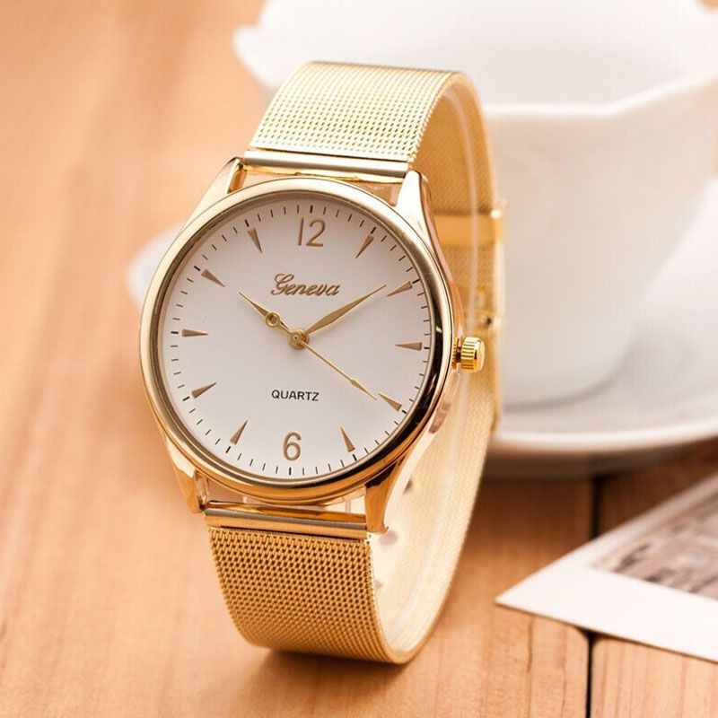 2017 Fashion Watch Geneva Women Watches Women's Dress Classical Stainless Steel Band Quartz Wrist Watches Reloj Mujer Mesh Hour