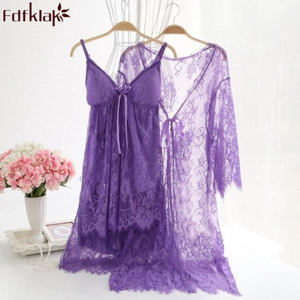 Sexy hollow out lace robes 2017 short dressing gowns for women high grade night shirts 3 pieces robe & gown sets bathrobe A106