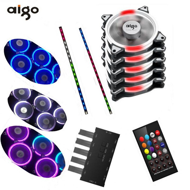 Aigo fan octave space C5 LED computer fan iridescence RGB 12 cm aurora aperture water multimodal PC cooling fan